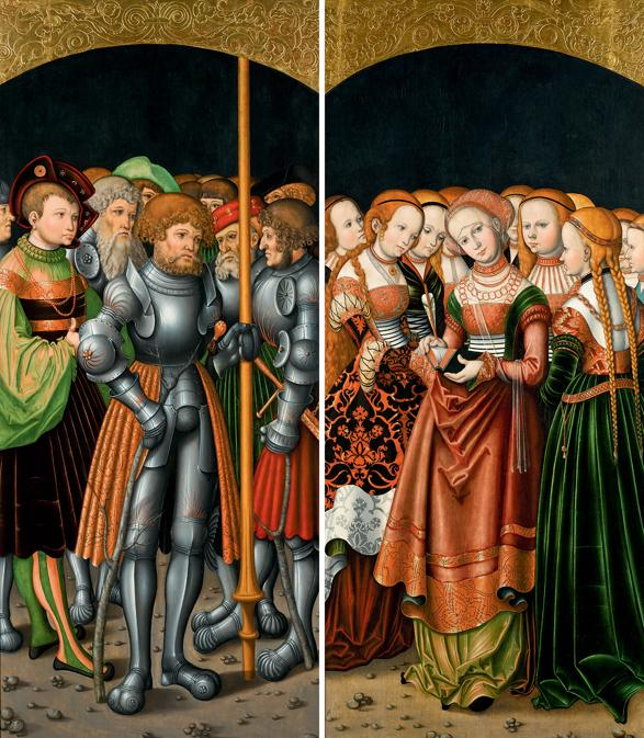 Lotto 3 - Simon Franck, Wings from an altarpiece: St Achatius with a train of knights and nobles; and St Ursula with an entourage of maidens, a pair, both oil on panel - £735,000 ($958,366) (€868,699) - £400,000 - 600,000