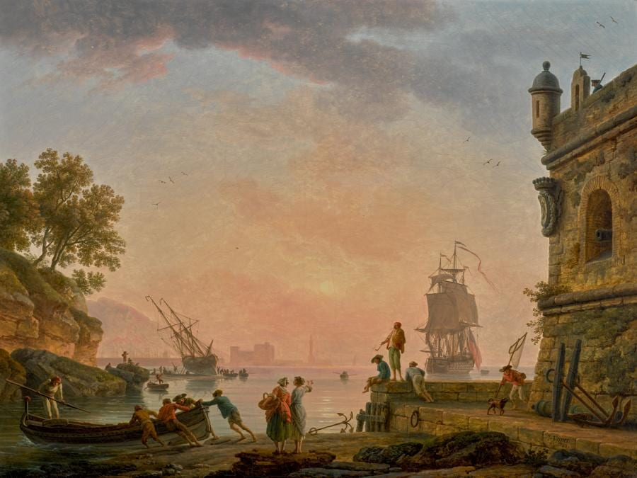 Lotto 29 - Claude-Joseph Vernet, A Mediterranean harbour scene at sunset, with fishermen pushing off a rowing boat beside a fortress, a British warship beyond, oil on canvas - £831,000 ($1,083,541) (€982,162) - £150,000 - 200,000