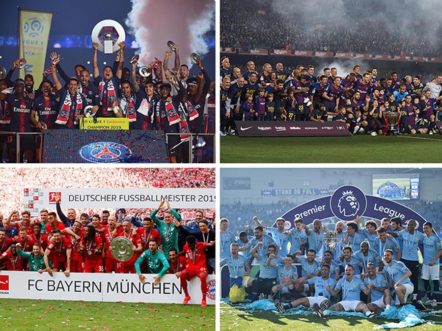 APRILE. CALCIO. Con quattro giornate d'anticipo, il Paris Saint Germain (in alto a sinistra) si laurea campione di Francia per l'ottava volta nella storia del club. Il Barcellona (in alto a destra), con tre giornate d'anticipo, vince la Liga spagnola per la 26esima volta nella storia del club catalano. Dopo un lungo testa a testa con il Borussia Dortmund , all'ultima giornata, il Bayern Monaco (in basso a sinistra) si laurea, per la settima volta consecutiva (29esimo titolo per il club bavarese), campione di Germania. Il Manchester City (in basso a destra) di Pep Guardiola cala il poker. I Citizens, chiudono l'anno agonistico, vincendo la Premier League, la Community Shield, la Coppa di Lega e la FA Cup .