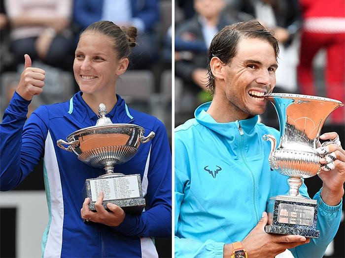 MAGGIO. TENNIS. Agli Internazionali di Roma, Karolina Pliskova (sinistra) vince il torneo femminile battendo in finale la britannica Johanna Konta, con il punteggio di 6-3 6-4. Vincendo la finale contro Novak Djokovic, con il punteggio di 6-0, 4-6, 6-1, Rafa Nadal (destra) vince per l'ottava volta in carriera il torneo maschile.