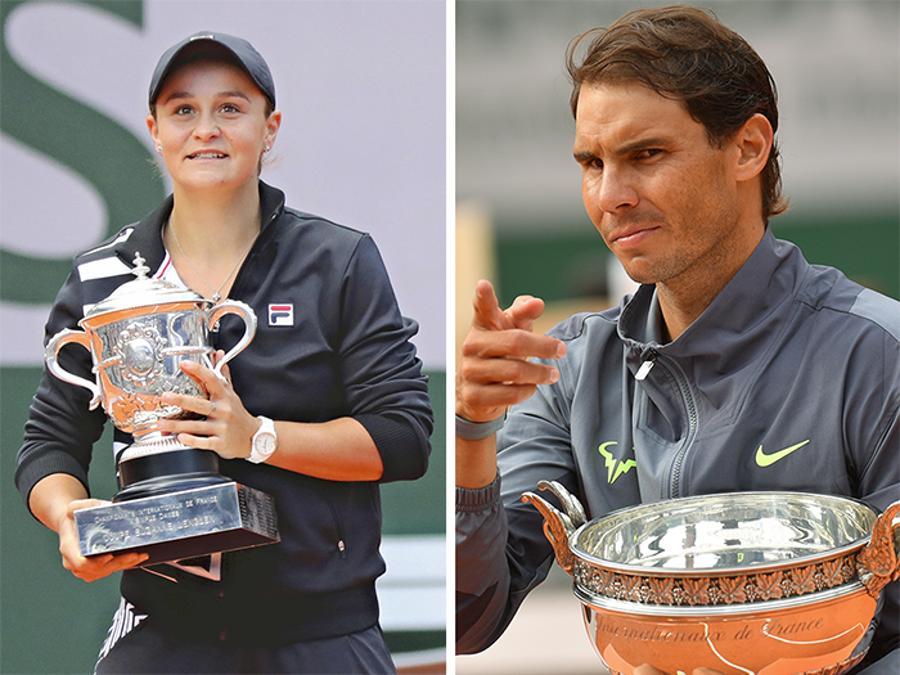 GIUGNO. TENNIS. L'australiana Ashleigh Barty (sinistra), trionfa per la prima volta a Parigi. Sconfitta nella finale femminile Marketa Vondrousova, con il punteggio di 6-1, 6-3. Rafael Nadal (destra) trionfa al Roland Garros per la dodicesima volta in carriera. Sconfitto, nella finale maschile, l'austriaco Dominic Thiem con il punteggio di 6-3, 5-7, 6-1, 6-1.