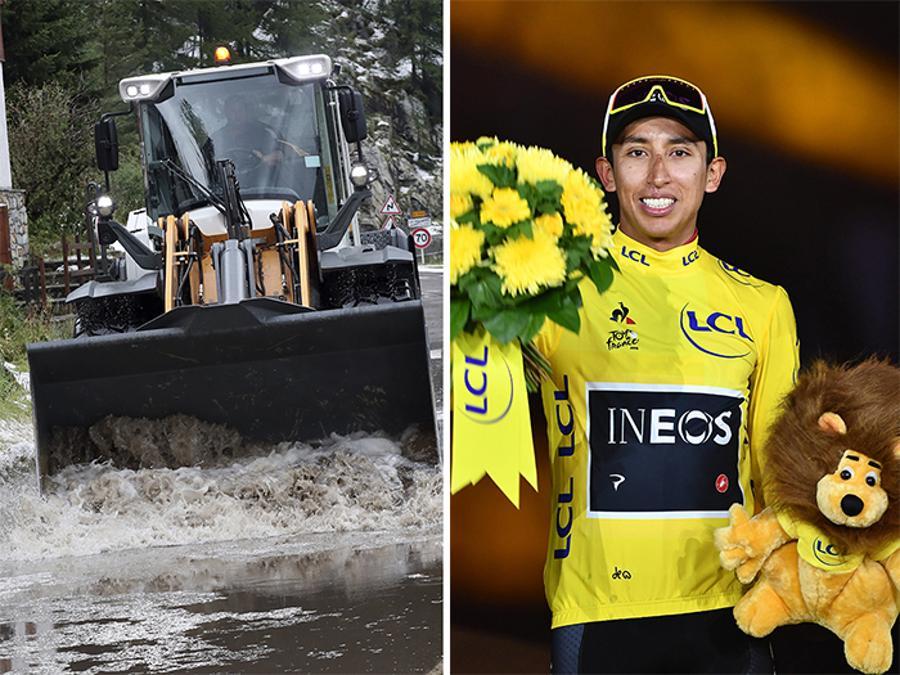 LUGLIO-CICLISMO. Fango, ghiaccio e neve hanno reso impraticabile il percorso , costringendo gli organizzatori del Tour de France a neutralizzare la 19eseima tappa, dopo lo scollinamento sul Col de l'Iseran, a 37 km dal traguardo. Il colombiano Egan Bernal (a destra), è il nuovo leader della classifica e vincitore della Grande Boucle.