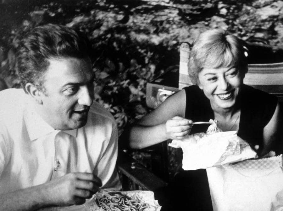 Federico Fellini e Giulietta Masina. (Afp)