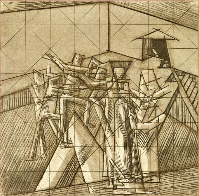 David Bomberg. Study for 'Ju-Jitsu', 1912-13. Chalk on paper, 54.5 × 55.8 cm. Abstract and Constructivist Collection, Sainsbury Centre for Visual Arts, University of East. Anglia (UEA 31159). Photo: Sainsbury Centre for Visual Arts, University of East Anglia © The estate of David. Bomberg. All Rights Reserved, DACS 2019