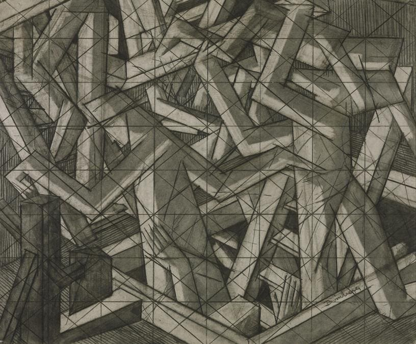 David Bomberg. Study for' In the Hold', about 1914. Charcoal on paper. 54, 8 × 65.4 cm. Tate, London (T00914). Presented by the Friends of the Tate Gallery 1967. © Tate