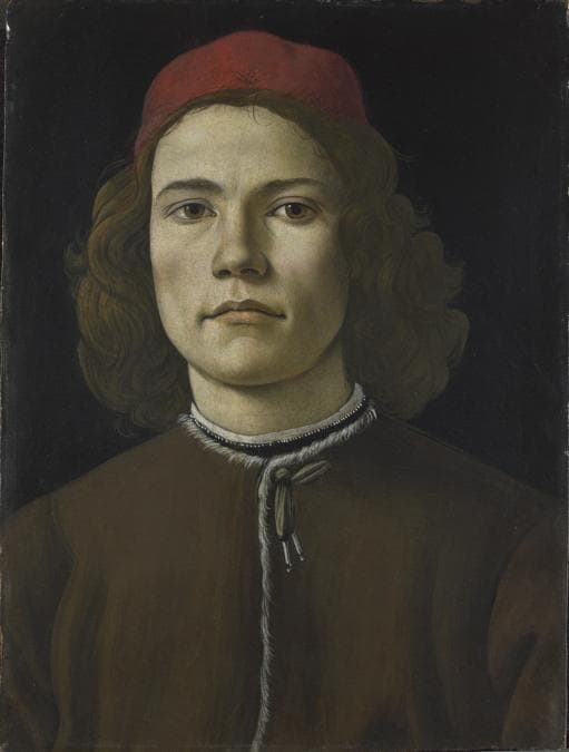 Sandro Botticelli . Portrait of a Young Man, probably about 1480-5. Tempera and oil on wood, 37.5 x 28.3 cm. © The National Gallery, London