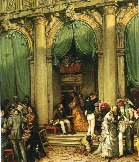 Friedrich Nerly,  Al Caffè Florian di Venezia, metà 1800