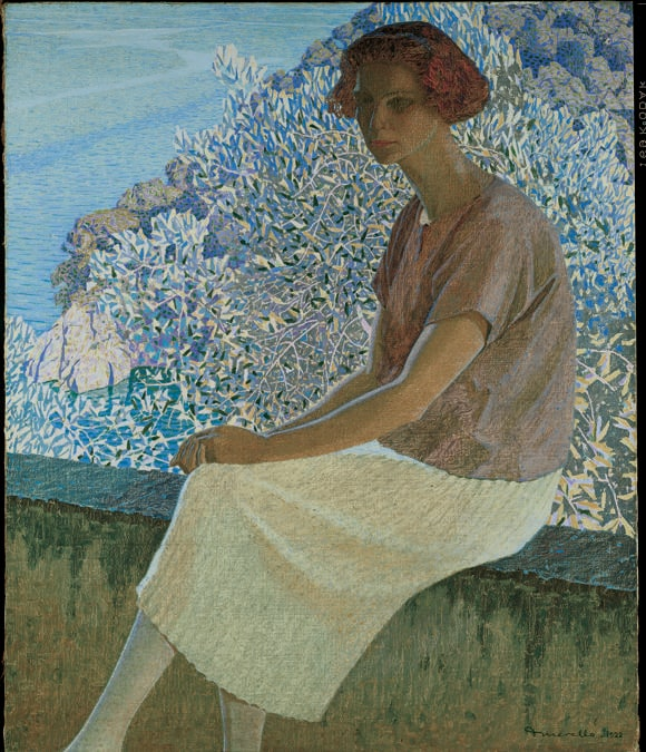DOMENICO GUERELLO - Calma argentea. Ritratto di Alma Fidora, inv. GAM 3741922 - Olio su tela, Musei di Nervi - Galleria d'Arte Moderna