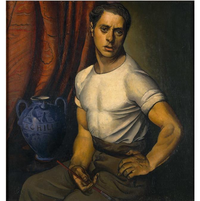 ACHILLE FUNI - Autoritratto con brocca blu, 1920 - Olio su tela, Studio d'Arte Nicoletta Colombo, Milano
