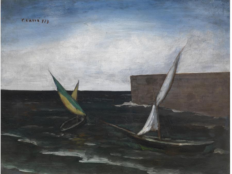 CARLO CARRÀ - Vele nel porto, CAT 1980, N. 1881923 - olio su tela, © Firenze, Fondazione di Studi di Storia dell'Arte Roberto Longhi