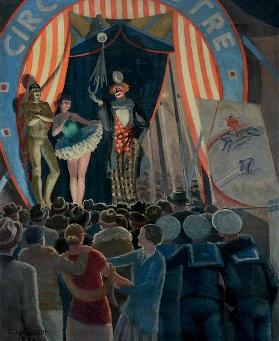 OSCAR SACCOROTT I - Il circo equestre, 1927 - Olio su tela, Collezione Privata, Courtesy Galleria Novecento, Genova