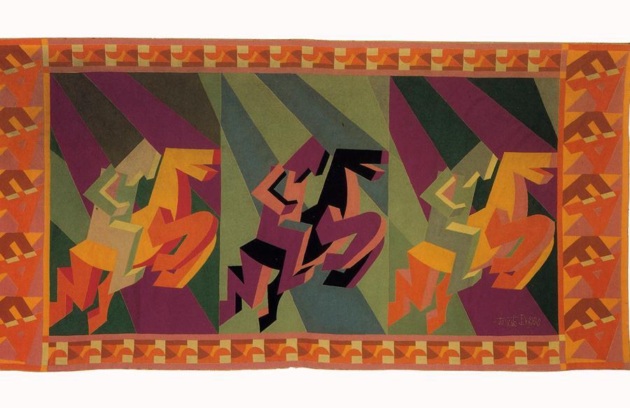 Fortunato Depero - Arazzo Cavalieri 1927 - tarsie di panni colorati, Maria Paola Maino, Roma