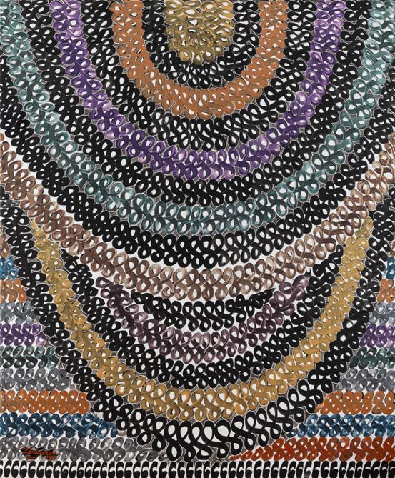 Charles Hossein Zenderoudi, Voule Azurée, 1987, pigmenti minerali metallici e acrilico su tela, 212x174 cmm (courtesy di Tehran Auction)