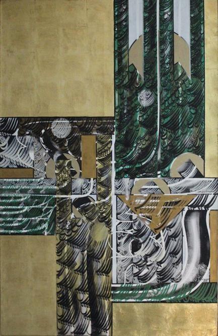 Faramarz Pilaram, Untitled, 1977, olio e foglio d'ora su tela, 199x 30 cm (courtesy di Tehran Auction)