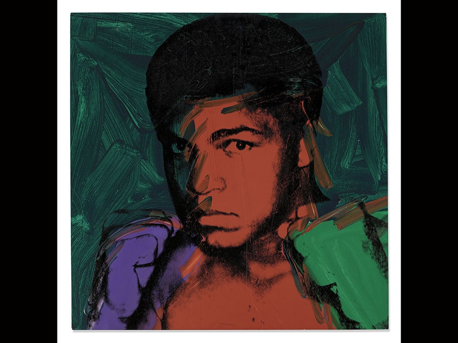 The Collection of Richard L. Weisman. Andy Warhol (1928-1987) , Muhammad Ali. Price realised GBP 4,973,250. Estimate GBP 3,000,000 - GBP 5,000,000, inscribed I certify that this is an original painting by Andy Warhol completed by him in 1978 Frederick Hughes (on the overlap); signed by Muhammed Ali (on the reverse), acrylic and silkscreen ink on linen, 40 x 40 in. (101,6 x 101,6cm.) Executed in 1977