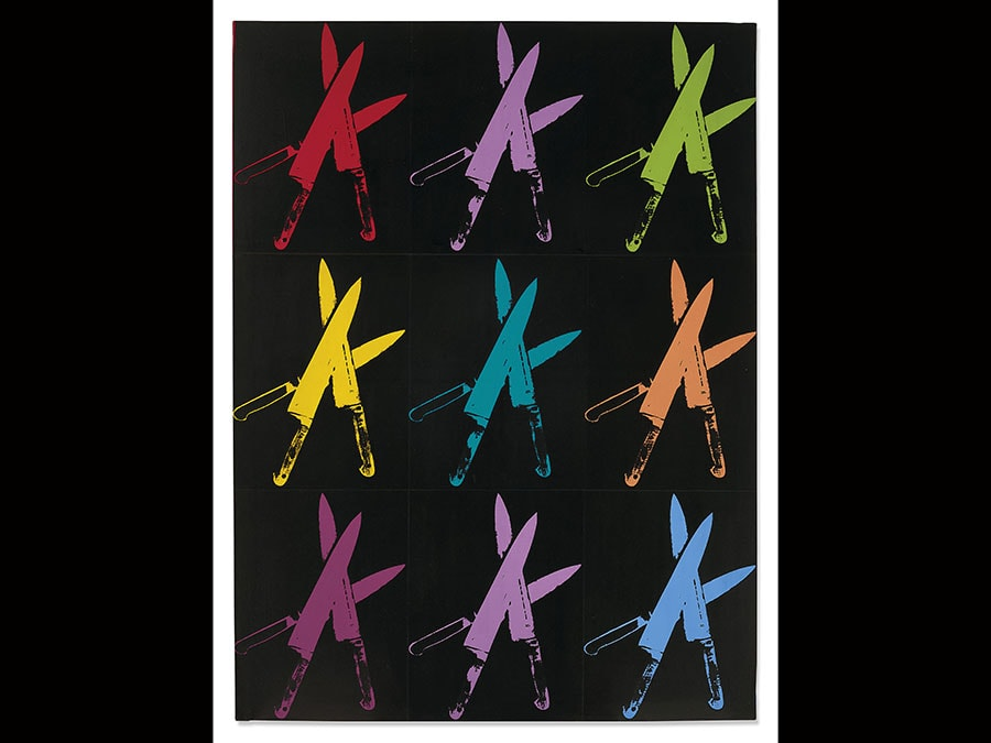 Andy Warhol (1928-1987) . Knives. Price realised GBP 2,752,148. Estimate GBP 2,500,000 - GBP 3,500,000; signed and dated Andy Warhol 82 (on the overlap) acrylic and silkscreen on canvas, 70 x 52 3/8in. (177,6 x 133cm.). Executed in 1982
