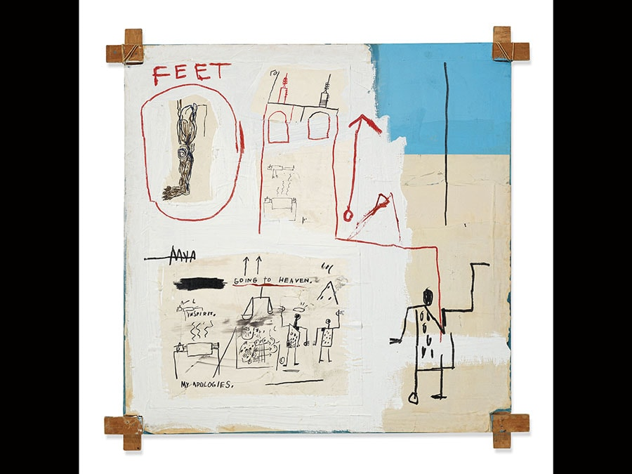 Jean-Michel Basquiat (1960-1988). The Mosque. Price realised GBP 3,951,729. Estimate GBP 4,000,000 - GBP 6,000,000; signed, titled and dated The Mosque 1982 Jean Michel Basquiat (on the reverse), acrylic, oilstick and ink on paper collage and canvas with tied wood supports, 60 x 60in. (152.5 x 152.5cm.). Executed in 1982