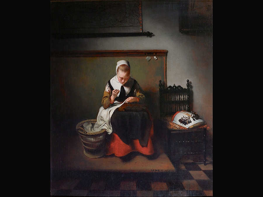 Young Woman sewing. Nicolaes Maes, 1655. © Guildhall Art Gallery, City of London