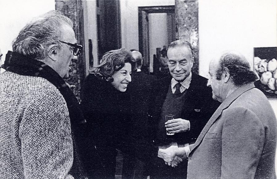 Quadriennale 1975. Fellini, Trucchi, Guttuso e Manzù. (Archivio Quadriennale - Fondo L. Trucchi)
