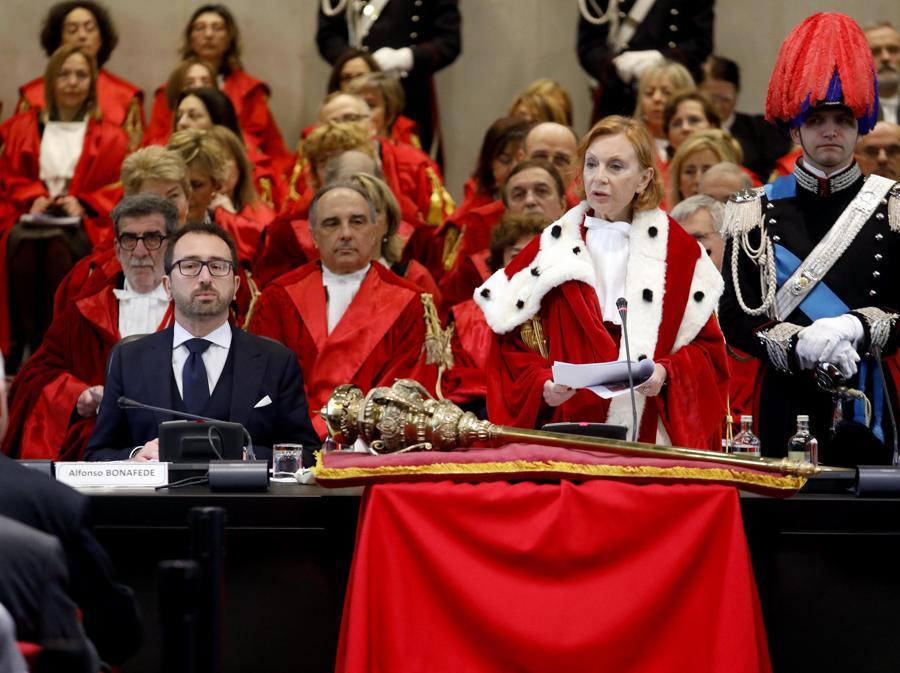 Alfonso Bonafede, Marina Tavassi alla cerimonia di inaugurazione dell'Anno Giudiziario a Palazzo di Giustizia a Milano. (ANSA/Mourad Balti Touati)