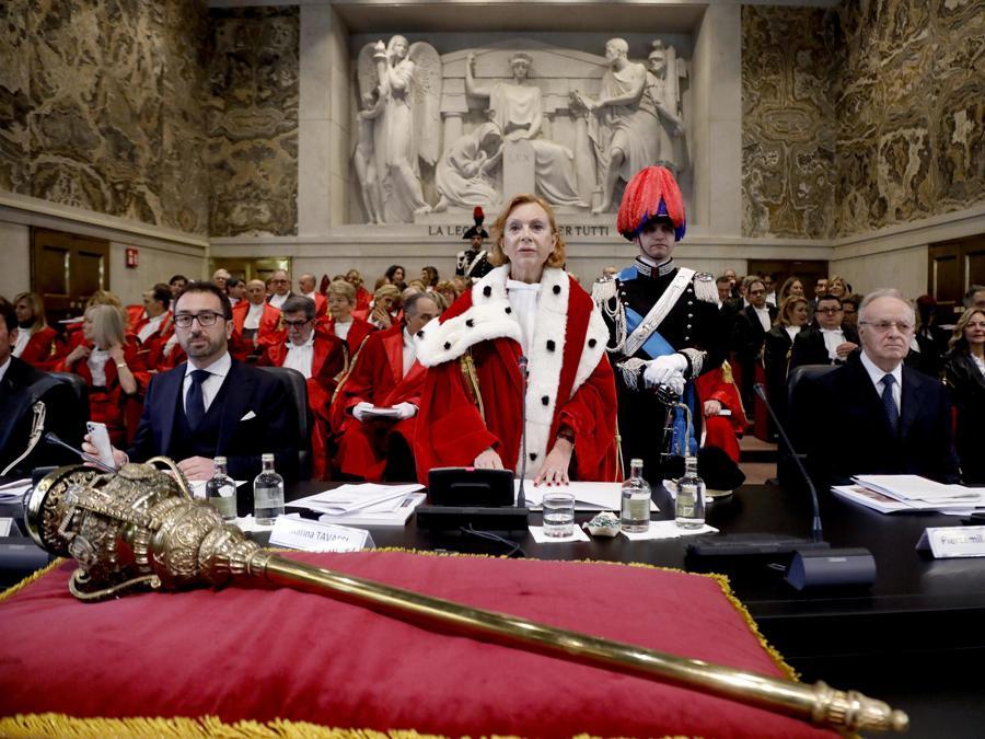 Alfonso Bonafede, Marina Tavassi, Piercamillo Davigo alla cerimonia di inaugurazione dell'Anno Giudiziario a Palazzo di Giustizia a Milano. (ANSA/Mourad Balti Touati)