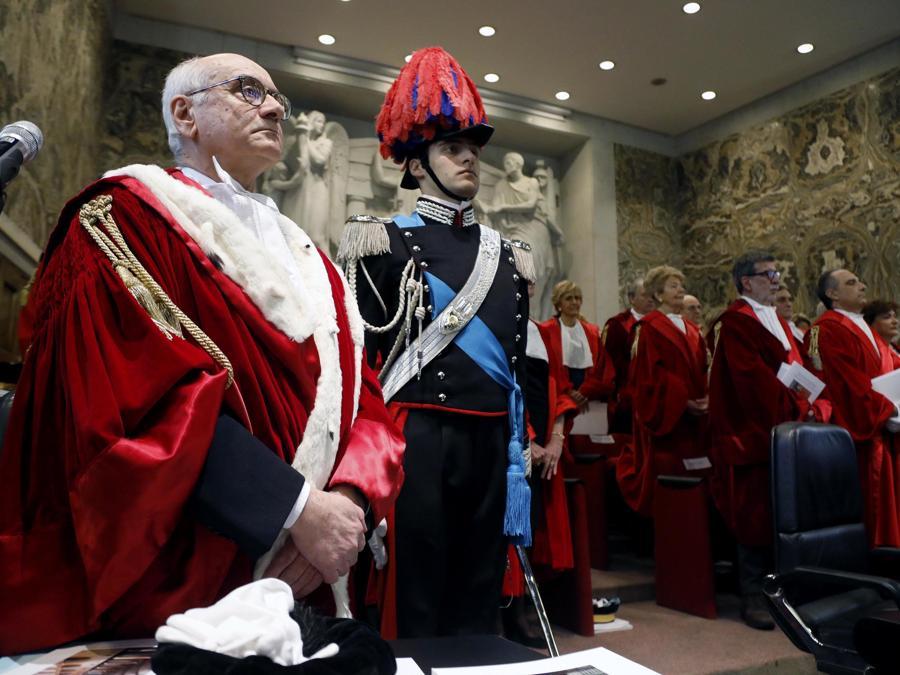 La cerimonia di inaugurazione dell'Anno Giudiziario a Palazzo di Giustizia a Milano. (ANSA/Mourad Balti Touati)