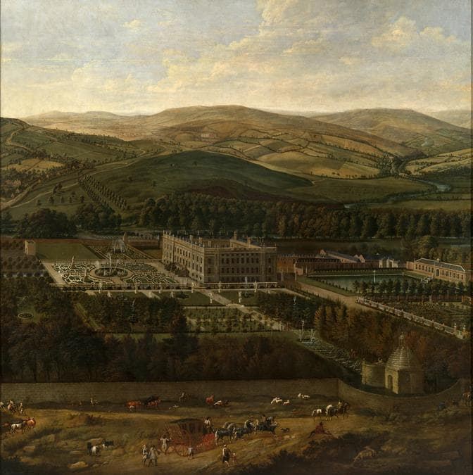 Jan Siberechts «View of Chatsworth» 1699-1700 - Oil paìnt an canvas - 315 x 307 - The Devonshire Collections, Chatsworth