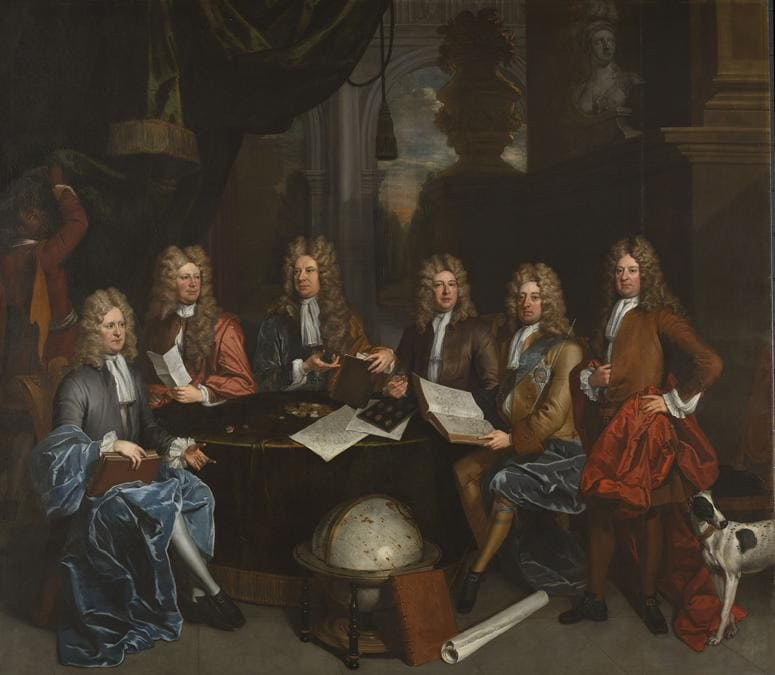 John James Baker «The Whig Junto» 1710 - Oil paint on canvas - 319 x 395 - Tate. From the collection of Richard and Patricia, Baron and Baroness Sandys. Accepted by HM Government in Lieu of inheritance tax and donated to Tate in 2018
