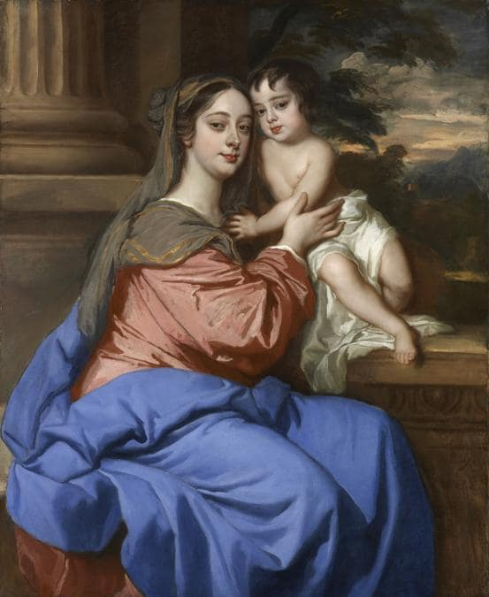 Peter Lely «Barbara Palmer (née Villiers), Duchess of Cleveland with her son» - probably Charles Fitzroy, as the Virgin and Child -  c.l664 - Oil paint on canvas - 124.7 x 102 - National Portraìt Gallery, London. Purchased with help from the National Heritage Memoria! Fund, through the Art Fund lwìth a contribution from the Wolfson Foundationl. Camelot Group pie, David and Catharine Alexander, David Wilson, E.A. Wh1tehead, Glyn Hopkin and numerous other supporters of a public appeal including members of the Chelsea Arts Club, 2005
