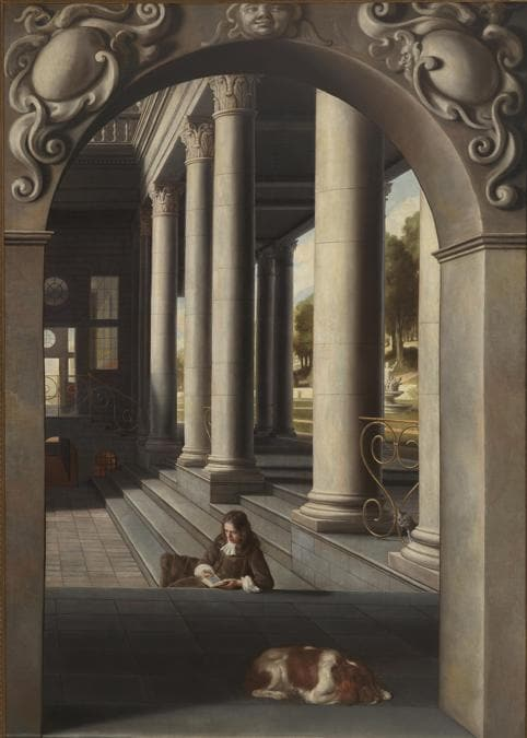 Samuel Van Hoogstraten «Young Man Reading in a Courtyard» 1662-6 - Oil paint on canvas - 231 x165 - Private collection