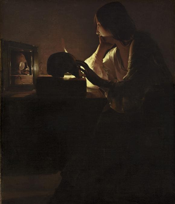 Georges de La Tour, Maddalena penitente, 1635 - 1640, Olio su tela, 113 x 92,7 cm, National Gallery of Art, Washington D.C., Stati Uniti