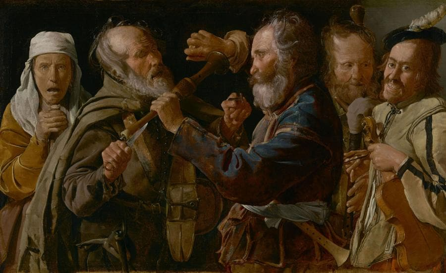 Georges de La Tour, La rissa tra musici mendicanti, 1625 - 1630 ca., Olio su tela, 85,7 x 141 cm, The J. Paul Getty Museum, Los Angeles, Stati Uniti