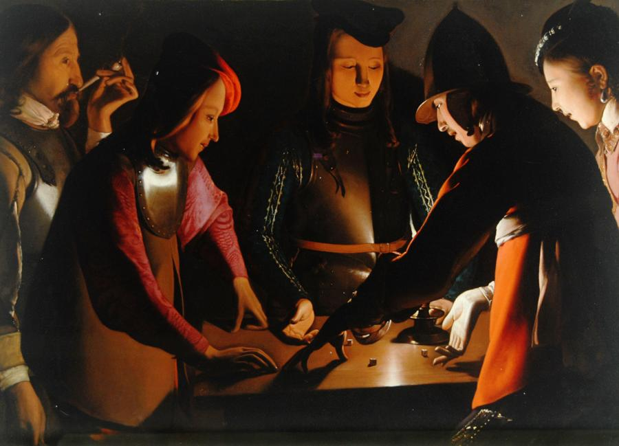 Georges de La Tour, I giocatori di dadi, 1651 ca., Olio su tela, 95,5 x 130,5 cm, Preston Park Museum and Grounds Stockton-on-Tees, Regno Unito