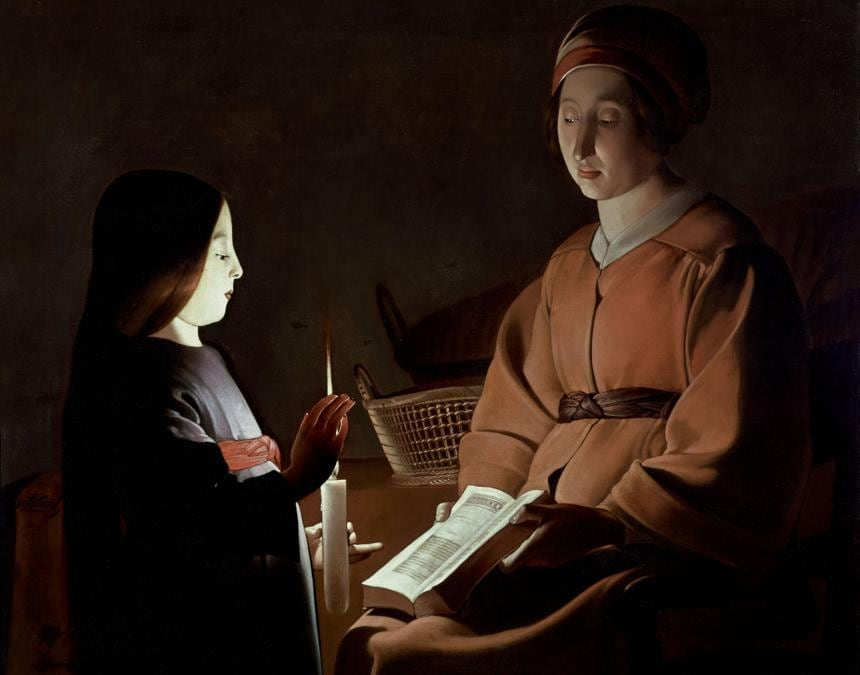 Georges de La Tour (studio), Educazione della Vergine, 1650 ca., Olio su tela, 83,8 x 100,3 cm, The Frick Collection, New York, Stati Uniti