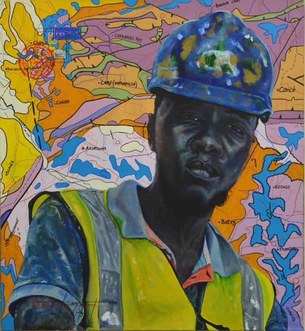 Jean David Nkot,  Waman.com, 2019, ink, acrylic, posca and silkscreen printing on canvas, 120x110 cm (courtesy: Afikaris)