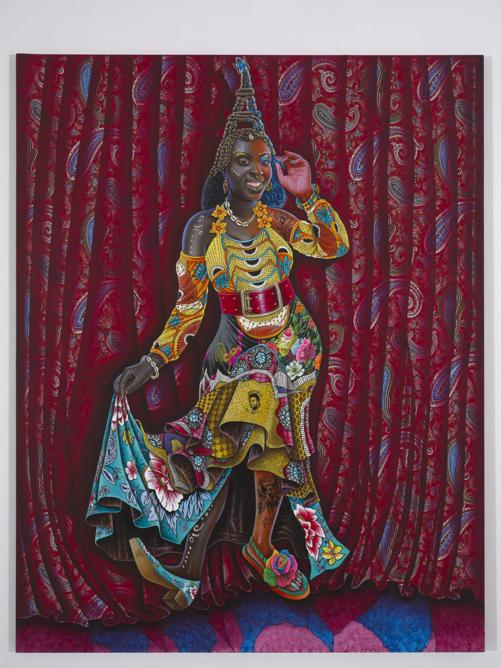 Jp Mika, Africaine à la parisienne, 2018, acrylic, indian ink and glitter on fabric, 178x140 cm (framed), signed and dated (© Adagp, Jp Mika, Kleinefenn, courtesy Magnin-A)