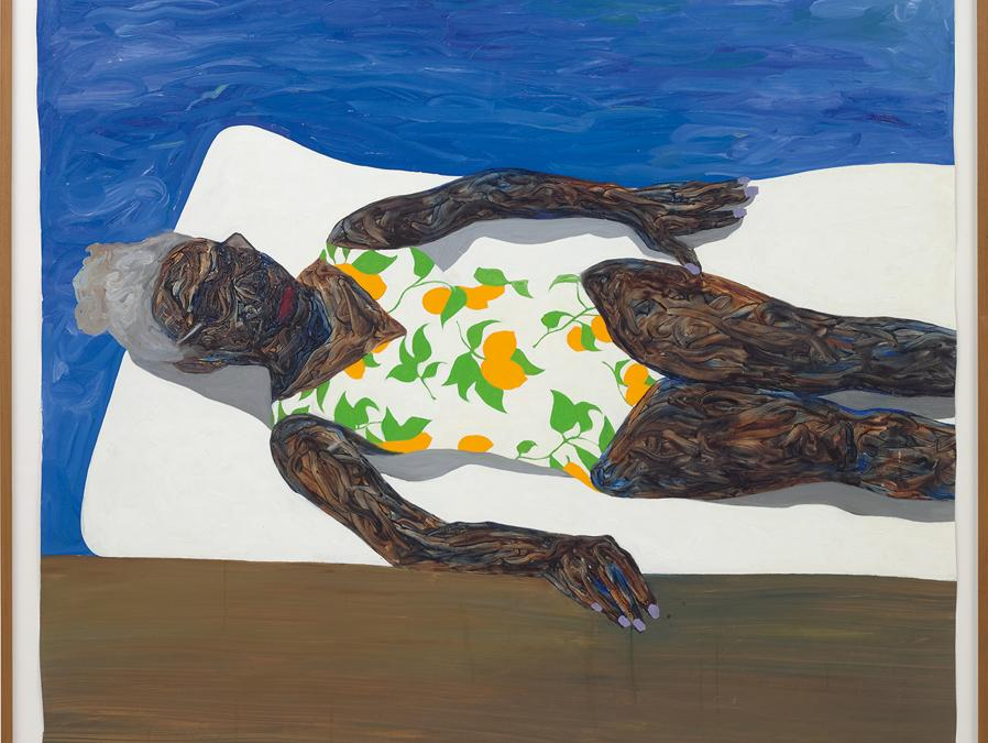 Amoako Boafo. The Lemon Bathing Suit, signed, inscribed and dated  AMOAKO M BOAFO 2019 KING centre right; oil on unstretched canvas, 205.7 x 193 cm (80 7/8 x 75 7/8 in.). Painted in 2019. Estimate £ 30.000 - 50.000 . SOLD FOR £ 675.000