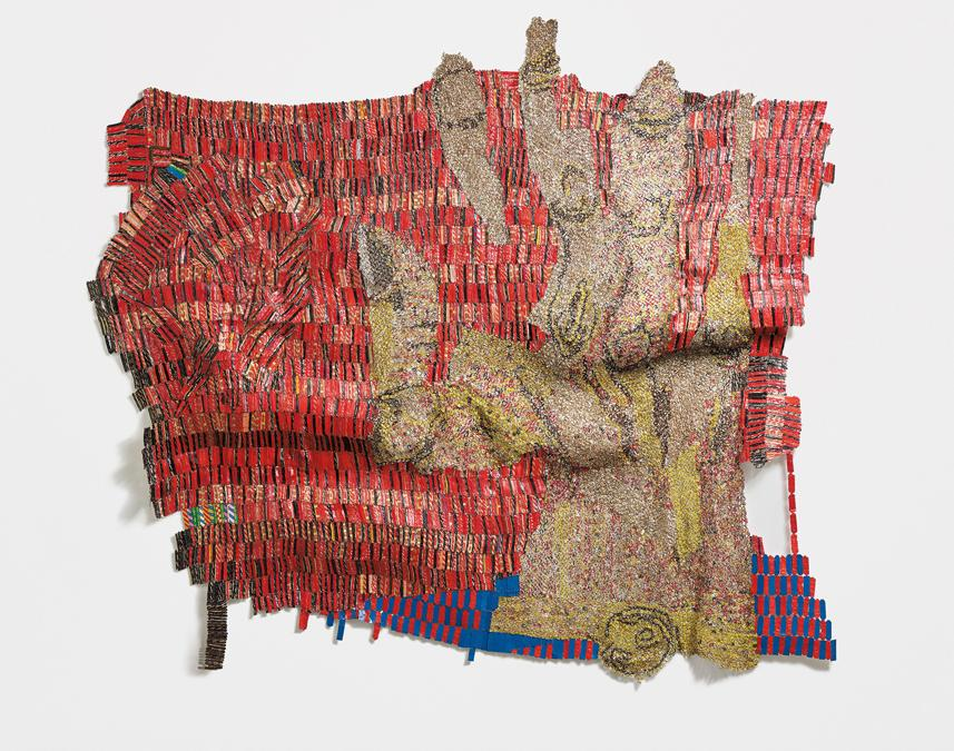 A vision in red: property from a private swiss collection. El   Anatsui. Affirmation, signed and dated EL 14 EL 2014 EL 14 lower right aluminium bottle caps and copper wire, 310 x 341 cm (122 x 134 1/4 in.). Executed in 2014. Estimate £ 700.000 - 900.000. SOLD FOR £ 915.000