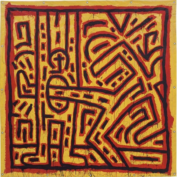 Property from a distinguished private collection. Keith Haring. Untitled, signed and dated NOV. 1981 K. Haring  on the reverse, vinyl paint on vinyl tarpaulin with metal grommets, 245 x 244.8 cm (96 1/2 x 96 3/8 in.), Painted in November 1981. Estimate £ 3.000.000 - 4.000.000 . SOLD FOR £ 3.291.000