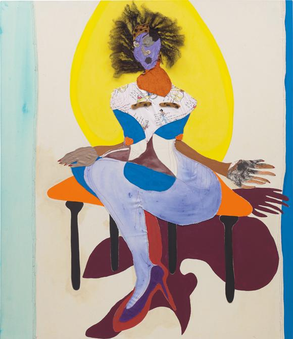 Tschabalala Self. Princess, signed and dated Tschabalala Self Tschabalala Self 2017 on the overlap fabric, acrylic, flashe, oil and human hair on canvas, 213 x 183 cm (83 7/8 x 72 in.). Executed in 2017. Estimate £ 150.000 - 250.000. SOLD FOR £ 435.000