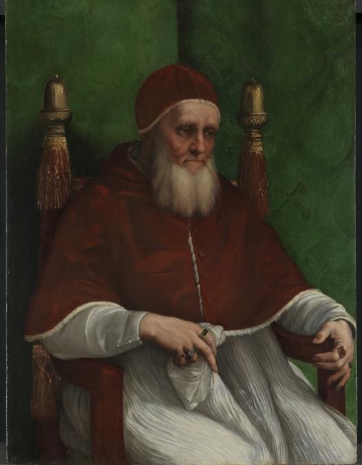 Raffaello, Ritratto di Giulio II, Portrait of Giulio II, ante marzo 1512, olio su tavola / oil on panel, Londra, The National Gallery, © The National Gallery, London