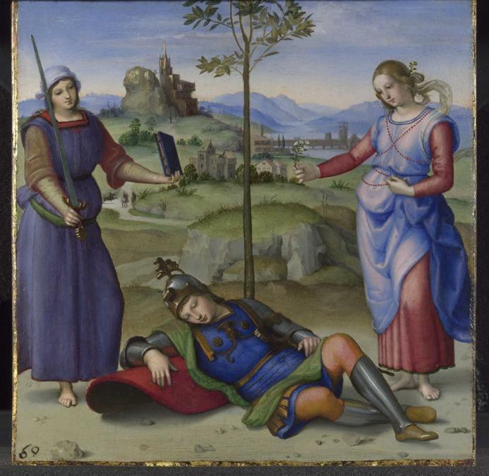 Raffaello, Il sogno del cavaliere (Ercole al bivio), The knight's dream, 1504, olio su tavola / oil on panel, Londra, The National Gallery, © The National Gallery, London