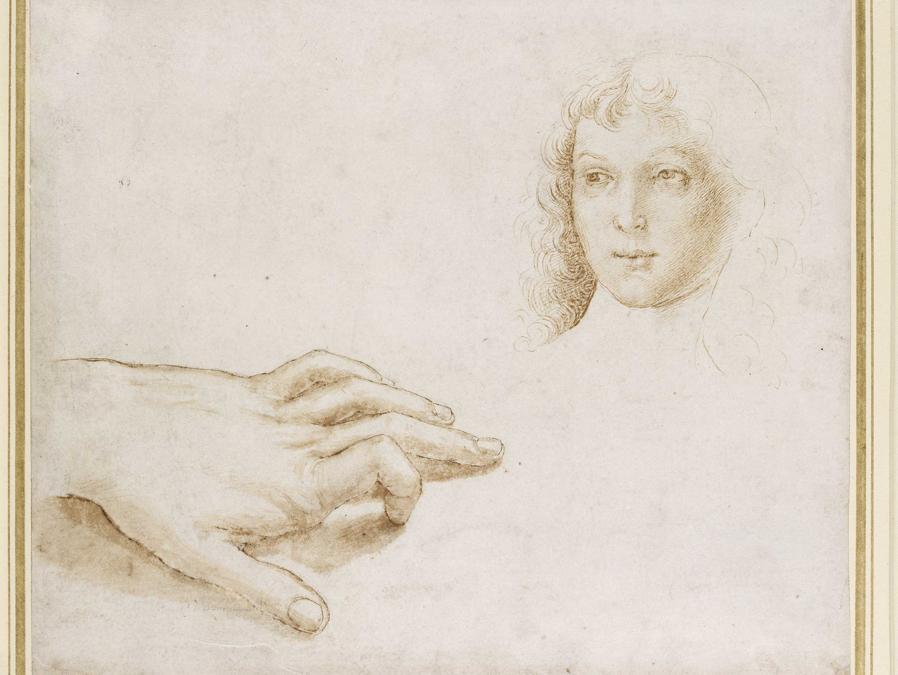 Raffaello, Studio di una mano e di un volto, Study of hand and face, 1497-1499, pietra nera / black chalck, Oxford, Ashmolean Museum, © Ashmolean Museum, University of Oxford