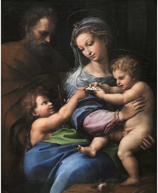 Raffaello, La Madonna della Rosa, Madonna of the Rose, 1518-1520, olio su tavola trasportata su tela / oil on panel transferred to canvas, Madrid, Museo Nacional del Prado, © 2020. Copyright immagine Museo Nacional del Prado