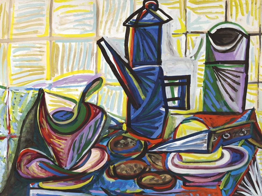 Lotto  5 - Important works on paper from a private european collection. Pablo Picasso (1881-1973) . La cafetière. Price realised Gbp 1,811,250. Estimate: Gbp 1.000.000 - Gbp 1.500.000, gouache on paper laid down on card, 19 e 3/4 x 25 e 1/2 in. (50 x 65 cm.). Executed in Paris in April 1943