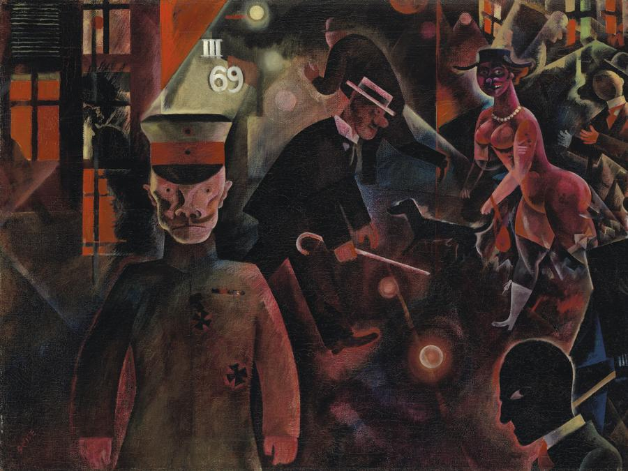Lotto 6 - Property from a swiss private collection - World auction record. George Grosz (1893-1959).  Gefährliche Strasse. Price realised Gbp 9.740.250. Estimate: Gbp 4.500.000 - Gbp 6.500.000. signed Grosz (lower left); signed, dated and indistinctly inscribed GROSZ Juli 1918, 19...Streetscene 1918 (on the reverse); oil on canvas 18 5/8 x 25 3/4 in. (47.3 x 65.3 cm.). Painted in July 1918