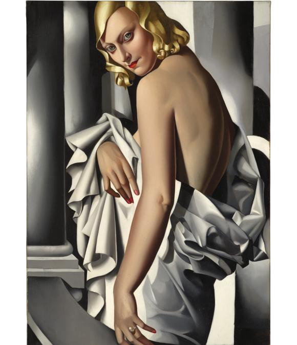 Lotto 8 - The property of a gentleman, formerly from the collection of Wolfgang Joop. Tamara de Lempicka (1898-1980) . Portrait de Marjorie Ferry. Price realised Gbp 16.280.000.  Estimate: Gbp 8.000.000 - Gbp 12.000.000, signed LEMPICKA (lower left); oil on canvas 39 3/8 x 25 5/8 in. (100 x 65 cm.). Painted in 1932