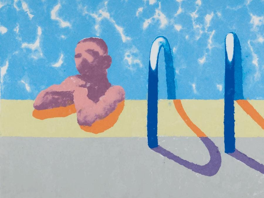 David Hockney. GREGORY IN THE POOL (PAPER POOL 4). Estimate 350.000 - 450.000 USD. Venduto a 692.000 USD