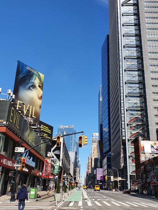 Le vie del centro di New York senza traffico