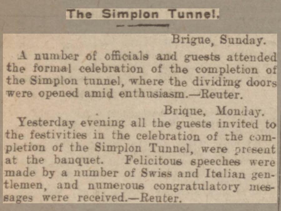 2 aprile 1905, apertura ufficiale del tunnel ferroviario sotto le Alpi del Sempione  che collega la Svizzera con l'Italia (Reuters)